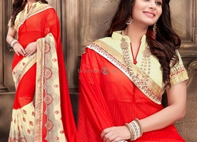 Gorgeous Red Georgette Stylish Sari For Party Having High Neck