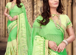 Charming Green Georgette Party Wear Saree Having Bateau Neckline