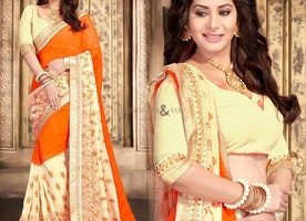 Ephemeral Orange Georgette Latest Party Wear Sari Having Half Sleeves