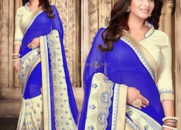 Delightful Blue Georgette Party Saree Online Having V- Neck