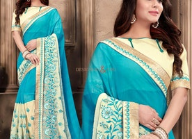 Pretty Blue Georgette Trendy Sari With Blouse Having Bateau Neckline