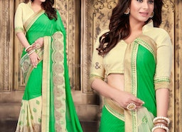 Elegant Green Georgette Latest Party Saree Having Chinese Collar
