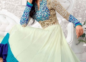 EXCELLENT JAAL AND RESHAM WORK ANARKALI SALWAR KAMEEZ