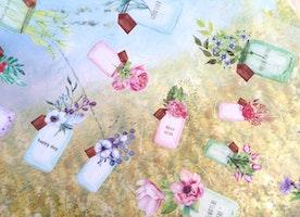 flower bottle glass bottle sticker potted flower potted plant botanical jar decor sticker Garden plant gardening planner flower art sticker
