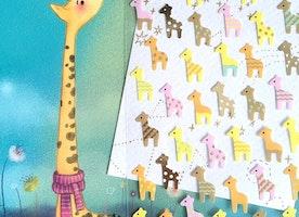 Giraffe sticker Colorful giraffe mini Africa animal Diary seal sticker kawaii animal zoo animal Giraffe theme sticker label planner sticker