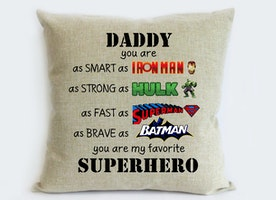 superhero father son gift-first fathers day gift from son-gift for son from dad-iron man,hulk,super man,bat man pillowcase-dad birthday gift