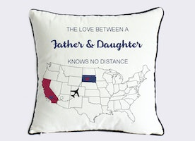 Custom father daughter pillow case-fathers day gifts for step dad-Xmas gift for papa-grandfather gift-father daughter love knows no distance