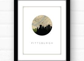 Pittsburgh Map Skyline Art Print