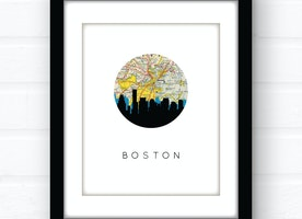 Boston skyline wall art