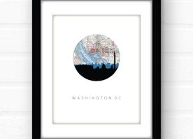 Washington DC skyline wall art