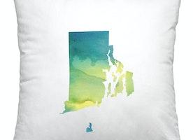Rhode Island watercolor square pillow