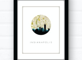 Indianapolis city skyline wall art