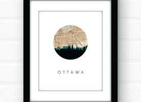 Ottawa city skyline wall art