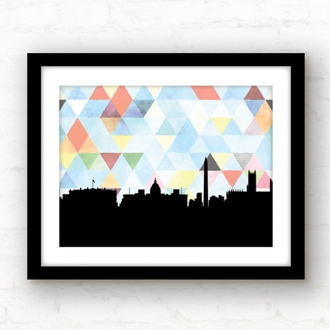 Washington DC skyline geometric wall art
