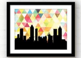 Atlanta, Georgia geometric skyline wall art | yellow
