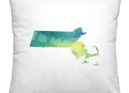 Massachusetts watercolor pillow   green and blue