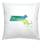 Massachusetts watercolor pillow | green and blue