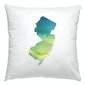 New Jersey watercolor pillow in blue and green