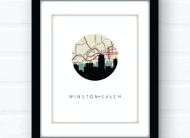 Winston-Salem skyline wall art