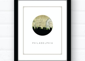 Philadelphia, Pennsylvania city skyline wall art