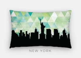 New York City geometric skyline lumbar pillow