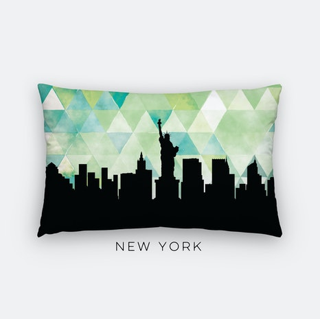 New York City geometric skyline lumbar pillow