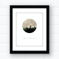 Los Angeles city skyline wall art