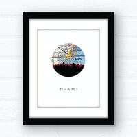 Miami, Florida skyline wall art