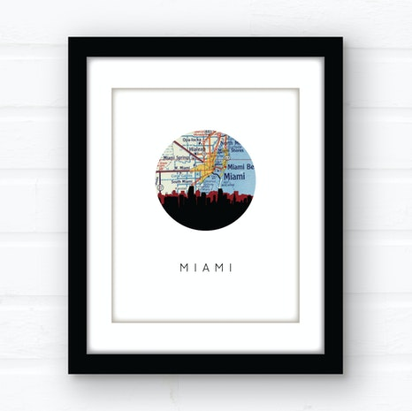 Miami, Florida skyline wall art
