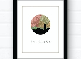 Ann Arbor, Michigan city skyline wall art