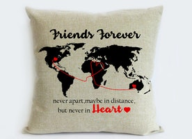 long distance friend pillow sham-BFF go away gift-world map gift for best friend-friend forever,never apart,maybe in distance,never in heart