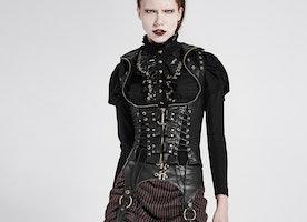 2017 Steam Punk Fashion Women Pu Leather Crisscross Bodice Short Style Vest jackets