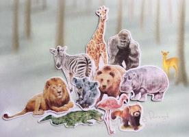 safari animal sticker africa zoo themed gorilla lion giraffe gorilla hippo gorilla crocodile red panda zebra koala brown bear flake sticker