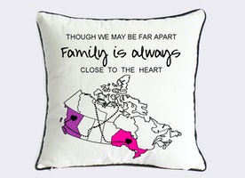 long distance family cushion cover-Xmas gift for family-Canada map canvas pillow-we may be far apart,family is always close to the heart