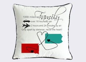 long distance family pillow cover-Xmas gift for mom-fathers day gift from daughter-birthday gift for him-apart by distance, never the heart