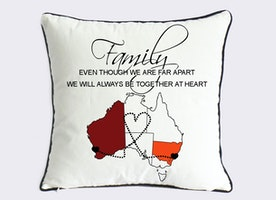 long distance family pillow sham-mother day gift for family-Australia map pillow-though we are far apart,we will always be together at heart