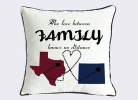 long distance Texas state pillow-US map canvas cushion cover-cotton anniversary gift for parents-the love between family knows no distance