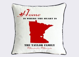 home is where the heart is cushion cover-Minnesota state map throw pillow-personalized Mithers day gift for family-present for mom and dad