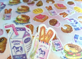 48 milk and breakfast sticker bakery Croissant French bread Fram milk burger sandwich cupcake sticker brunch food picnic planner gift