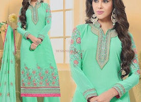 Ephemeral Green Georgette High Neck Pakistani Dress For Women
