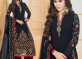 Delightful Black Georgette Chinese Collar Paki Fashion For Women