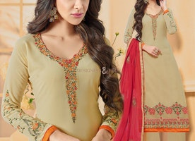 Pleasing Beige Georgette Palazzo Style Paki Style Suit For Women