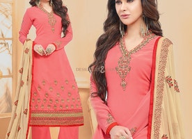 Elegant Peach Georgette Palazzo Style Aline Suit For Party