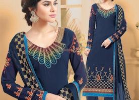 Alluring Blue Georgette Laced Border Work Aline Salwar Kameez For Party