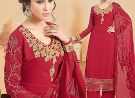 Decent Red Georgette Full Sleeves Aline Straight Dress For Ladies