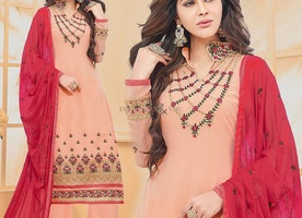 Heavenly Peach Georgette High Neck Straight Salwar Kameez For Girls