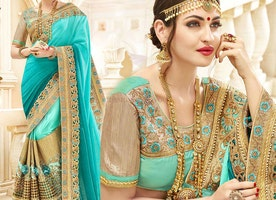 Irresistible Sea Green Embroidered Georgette Half And Half Sari