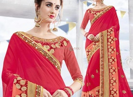 Aesthetic Red Georgette Stylish Saree Having Three Four Sleeves