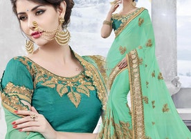 Smashing Sea Green Georgette Boutique Style Saree Having Short Sleeves