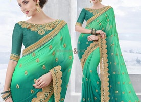 Comely Sea Green And Green Chiffon Half Saree With Blouse